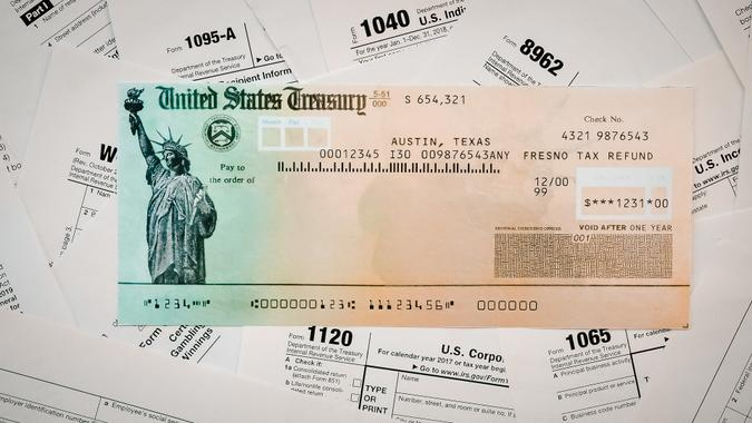 IRS Tax Refund check