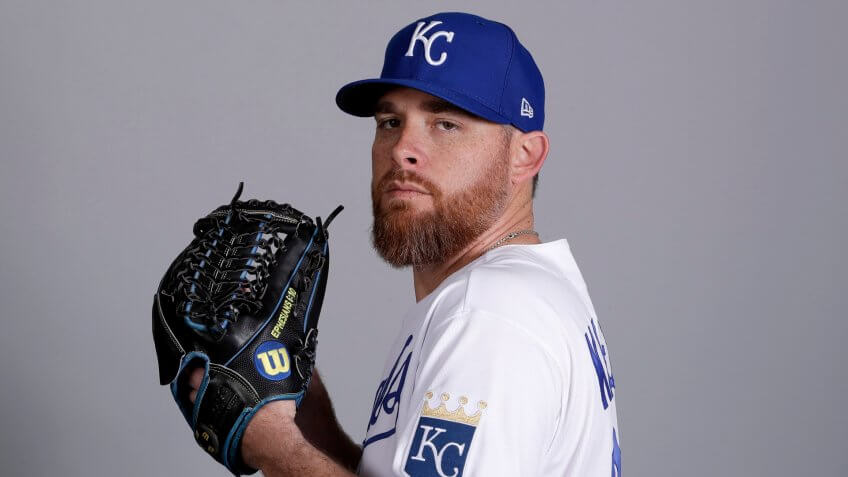 Mandatory Credit: Photo by Charlie Riedel/AP/Shutterstock (10562916kx)This is a 2020 photo of Ian Kennedy of the Kansas City Royals baseball team.