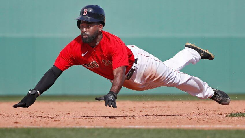 Mandatory Credit: Photo by Elise Amendola/AP/Shutterstock (10575218c)Boston Red Sox's Jackie Bradley Jr.