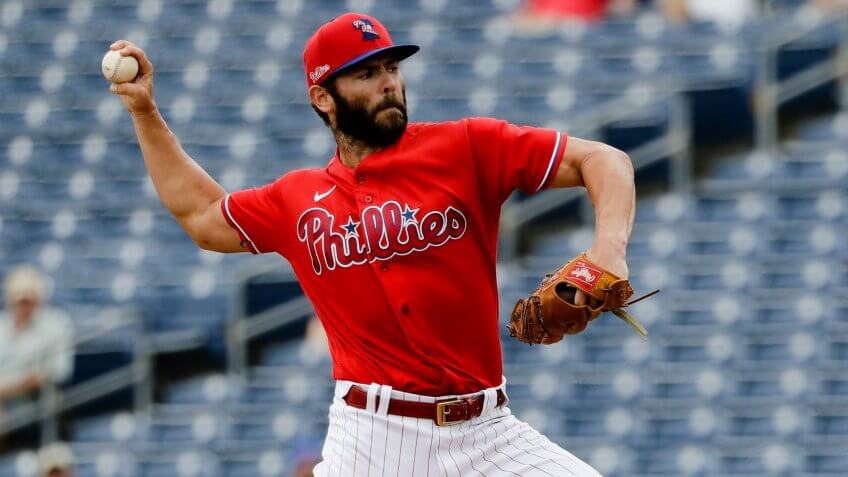 Mandatory Credit: Photo by Frank Franklin II/AP/Shutterstock (10567216v)Philadelphia Phillies starting pitcher Jake Arrieta delivers a pitch during the second inning of a spring training baseball game against the Toronto Blue Jays, in Clearwater, FlaBlue Jays Phillies Baseball, Clearwater, USA - 25 Feb 2020.