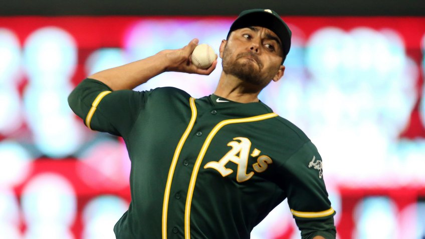 Mandatory Credit: Photo by Jim Mone/AP/Shutterstock (10342081h)Oakland Athletics pitcher Joakim Soria throws against the Minnesota Twins in a baseball game, in MinneapolisAthletics Twins Baseball, Minneapolis, USA - 19 Jul 2019.
