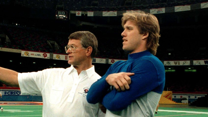 Mandatory Credit: Photo by Ed Andrieski/AP/Shutterstock (6547044a)Denver Broncos coach Dan Reeves, left, has a word with Broncos quarterback John Elway in the New Orleans Superdome on the eve of Super Bowl XXIV.
