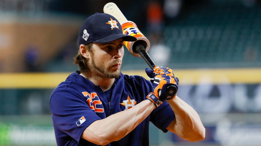 Mandatory Credit: Photo by Matt Slocum/AP/Shutterstock (10459954b)Houston Astros right fielder Josh Reddick prepares to take batting practice before Game 6 of the baseball World Series against the Washington Nationals, in HoustonWorld Series Nationals Astros Baseball, Houston, USA - 29 Oct 2019.