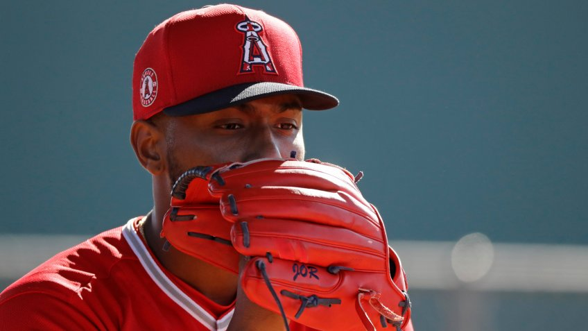 Mandatory Credit: Photo by Darron Cummings/AP/Shutterstock (10555030k)Los Angeles Angels starting pitcher Julio Teheran throws during spring training baseball practice, in Tempe, ArizAngels Spring Baseball, Tempe, USA - 12 Feb 2020.