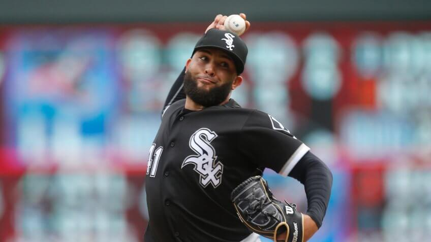 Mandatory Credit: Photo by Jim Mone/AP/Shutterstock (10252884b)Chicago White Sox pitcher Kelvin Herrera throws against the Minnesota Twins in a baseball game, in MinneapolisWhite Sox Baseball, Minneapolis, USA - 25 May 2019.