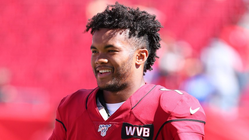 Nov 10, 2019; Tampa, FL USA; Arizona Cardinals quarterback Kyler Murray (1) smiles before an NFL game against the Tampa Bay Buccaneers at Raymond James Stadium.