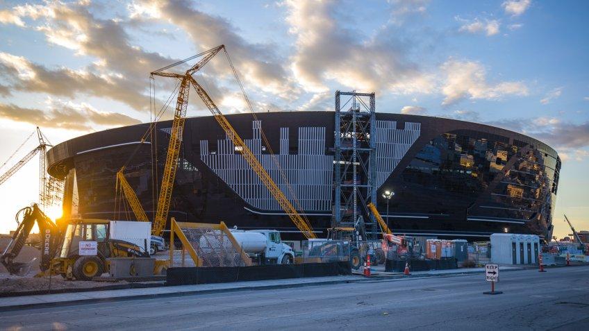 Las Vegas, NV, USA 2/9/2020 — Allegiant Stadium under construction near the Strip.