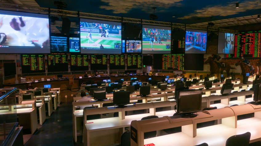 Las Vegas, USA - September 10, 2018: Players betting on horse racing and sports.