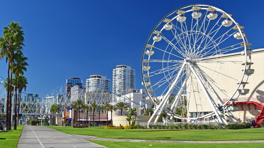A view of downtown Long Beach in Southern California.