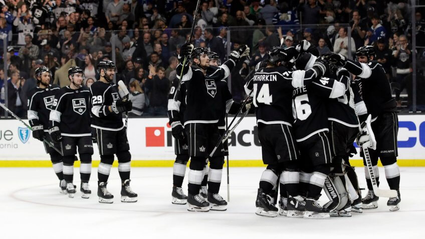 Mandatory Credit: Photo by Marcio Jose Sanchez/AP/Shutterstock (10575432s)Los Angeles Kings celebrate after a 1-0 shootout win over the Toronto Maple Leafs in an NHL hockey game, in Los AngelesMaple Leafs Kings Hockey, Los Angeles, USA - 05 Mar 2020.