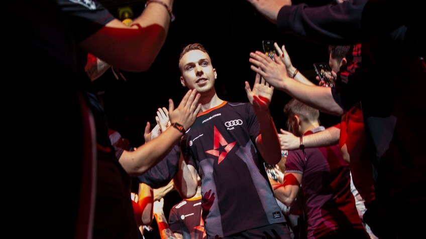 Mandatory Credit: Photo by LAUREN HURLEY/EPA-EFE/Shutterstock (9890186o)Danish gamer Lukas Rossander, who plays under the alias 'gla1ve', greats the crowd with his team Astralis ahead of the grand final of the FACEIT Major between Astralis and Na?Vi, at Wembley's SSE Arena, Wembley, London, Britain, 23 September 2018.