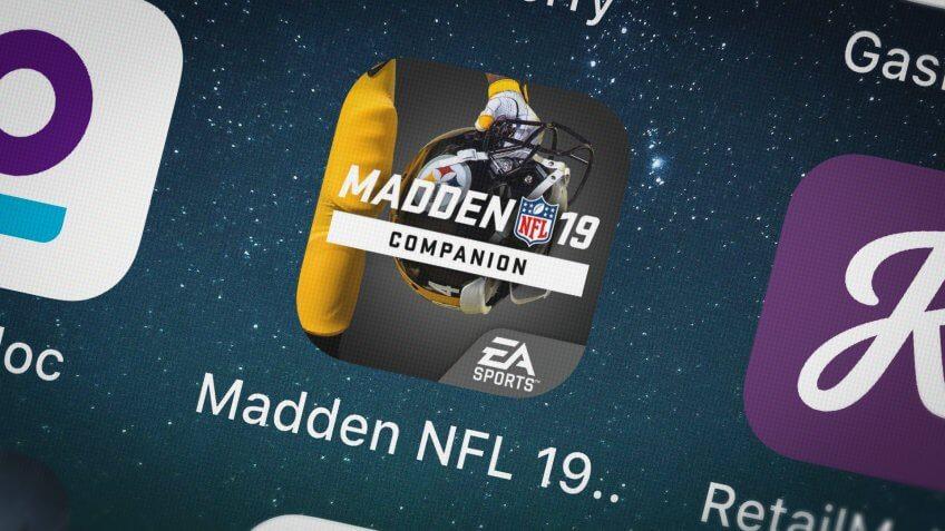 London, United Kingdom - October 01, 2018: Screenshot of Electronic Arts's mobile app Madden NFL 19 Companion.