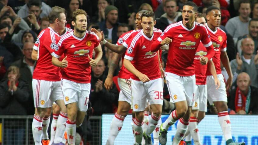 MANCHESTER, ENGLAND - SEPTEMBER 30, 2015: Champions League match between Manchester United and Vfl Wolfsburg at Old Trafford Stadium on September 30, 2015.