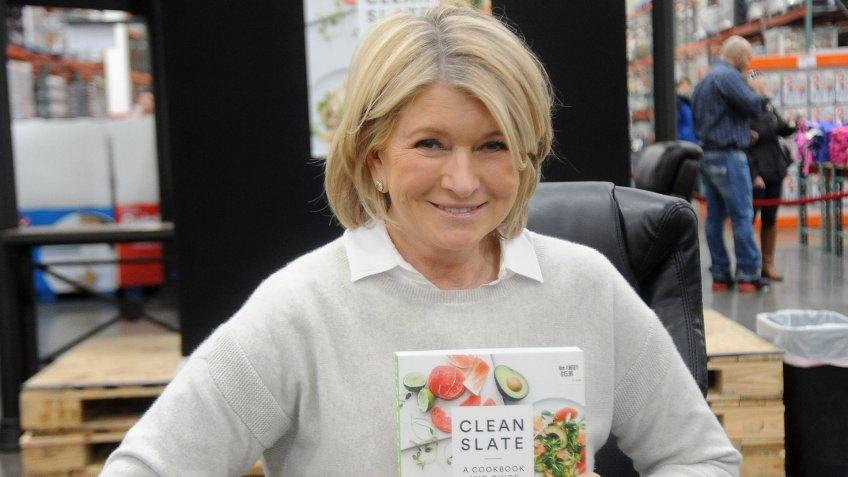 """BRIDGEWATER, NJ - FEBRUARY 26:  Martha Stewart attends her book signing for """"Clean Slate, A Cookbook and Guide"""" at Costco Wholesale on February 26, 2015 in Bridgewater, New Jersey."""