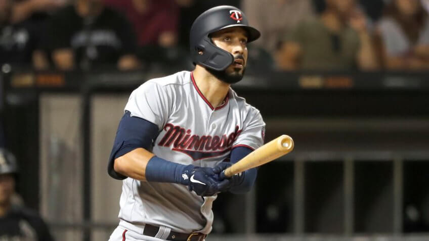 Mandatory Credit: Photo by Charles Rex Arbogast/AP/Shutterstock (10374638h)Minnesota Twins' Marwin Gonzalez watches his hit during a baseball game against the Chicago White Sox, in ChicagoTwins Baseball, Chicago, USA - 27 Aug 2019.