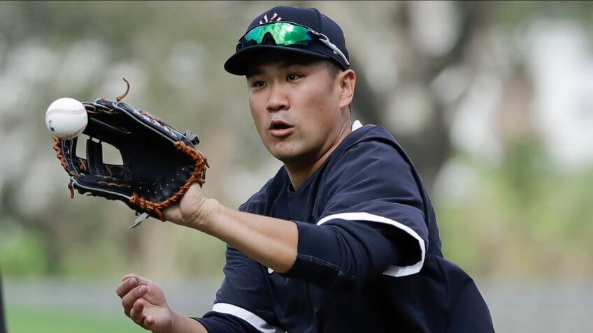 Mandatory Credit: Photo by Frank Franklin II/AP/Shutterstock (10555951aj)New York Yankees' Masahiro Tanaka during a spring training baseball workout, in Tampa, FlaYankees Spring Baseball, Tampa, USA - 13 Feb 2020.