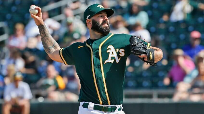 Mandatory Credit: Photo by Sue Ogrocki/AP/Shutterstock (10575274a)Oakland Athletics' Mike Fiers pitches in the fourth inning of a spring training baseball game against the Los Angeles Dodgers, in Mesa, ArizDodgers Athletics Spring Baseball, Mesa, USA - 05 Mar 2020.