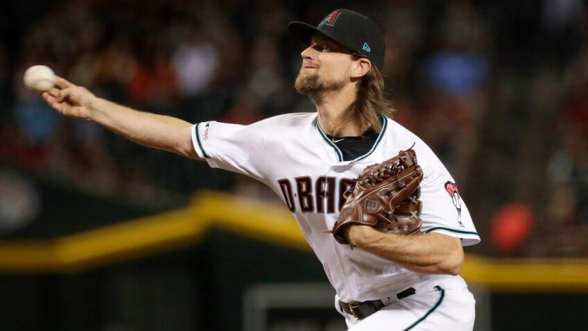 Mandatory Credit: Photo by Matt York/AP/Shutterstock (10423332c)Arizona Diamondbacks starting pitcher Mike Leake throws against the St.