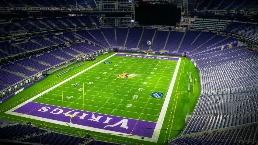 MINNEAPOLIS, USA -NOVEMBER 7, 2019: Interior of Minnesota Vikings US Bank Stadium in Minneapolis.