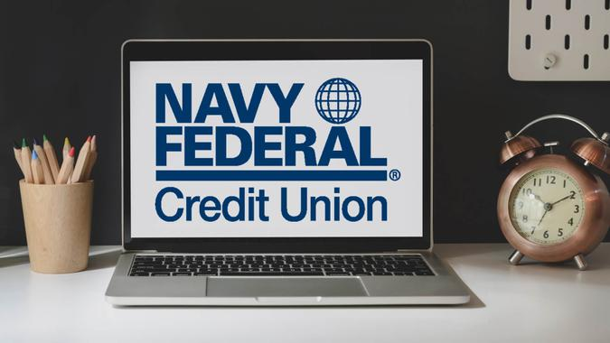 Navy Federal Credit Union logo on laptop screen.
