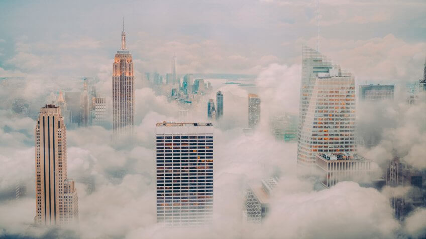 New york city skyline with clouds.