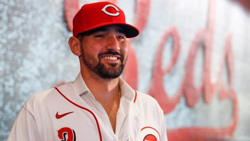 Mandatory Credit: Photo by John Minchillo/AP/Shutterstock (10541609m)Cincinnati Reds' Nick Castellanos waits for interviews during a news conference, in Cincinnati.