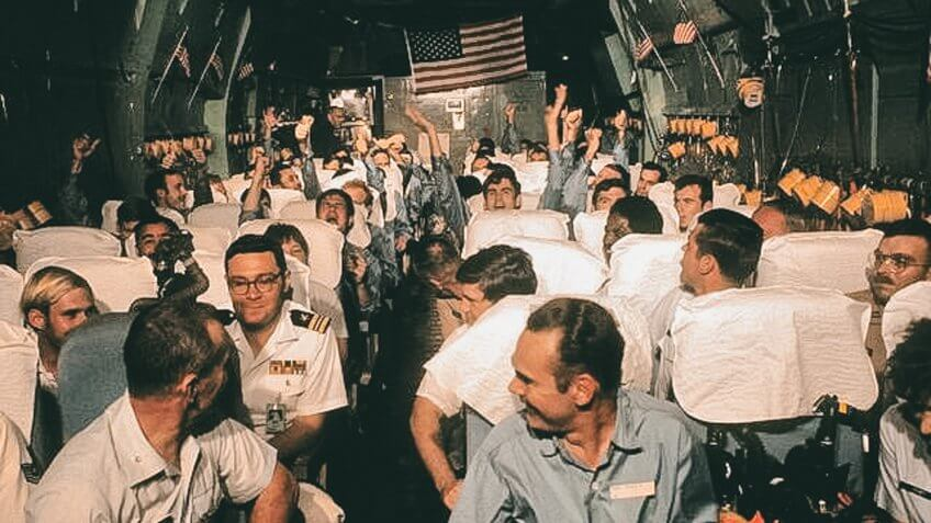 North Vietnamese prisoners returning to Phillipines base 1973