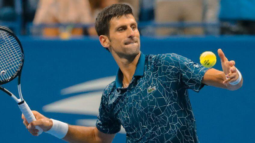 NEW YORK - SEPTEMBER 7, 2018: 13-time Grand Slam champion Novak Djokovic of Serbia celebrates victory after his 2018 US Open semi-final match at Billie Jean King National Tennis Center.