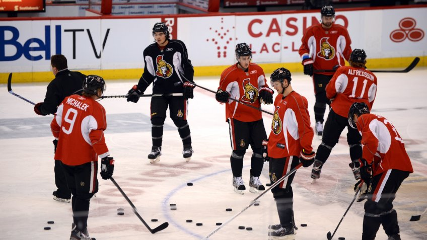 OTTAWA, CANADA - JAN 13: The Ottawa Senators return to the ice for their first practice of training camp after the NHL lockout was ended.