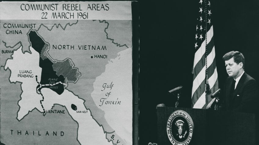 23 Nov 1961 --- President Kennedy gives a press conference on the situation in Southeast Asia.