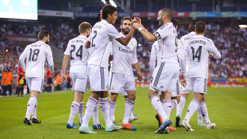BARCELONA - OCTOBER 29: Real Madrid players celebrating a goal at the Copa del Rey match between UE Cornella and Real Madrid, final score 1 - 4, on October 29, 2014, in Cornella, Barcelona, Spain.