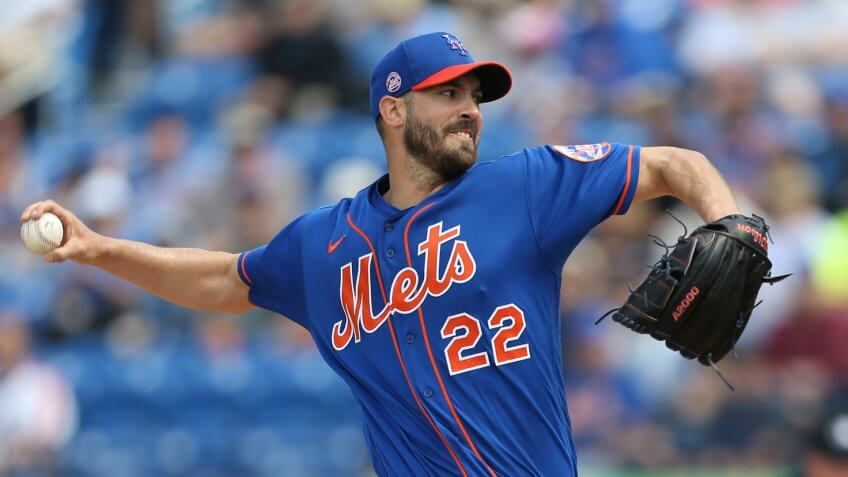 Mandatory Credit: Photo by Vera Nieuwenhuis/AP/Shutterstock (10565052c)New York Mets' Rick Porcello pitches during a spring training baseball game against the Miami Marlins, in Port St.