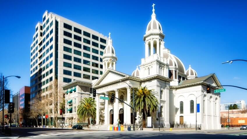 San Jose California Saint Joseph Cathedral as viewed from the corner of Market and San Fernando.