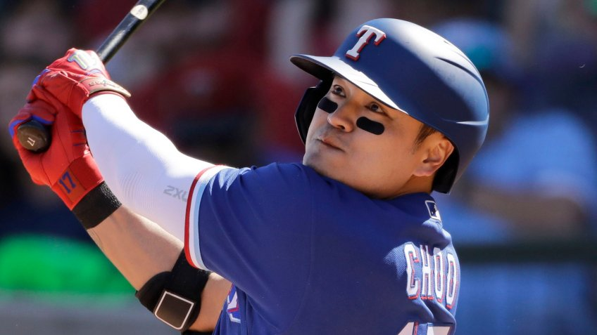 Mandatory Credit: Photo by Charlie Riedel/AP/Shutterstock (10571327k)Texas Rangers' Shin-Soo Choo bats during the second inning of a spring training baseball game against the Chicago White Sox, in Surprise, ArizWhite Sox Rangers Spring Baseball, Surprise, USA - 29 Feb 2020.