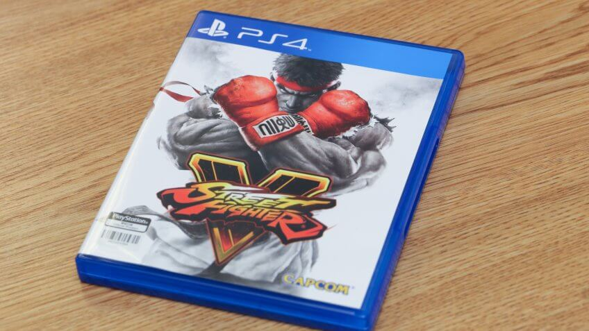 BANGKOK, THAILAND - FEBRUARY 18, 2016: The New Street Fighter V game on PS4 Console onFebruary 18,2016.
