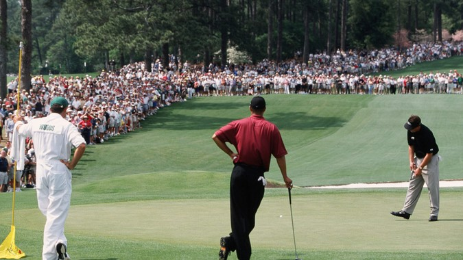 Phil Mickelson And Tiger Woods On The 2nd Hole During The 2001 Masters Tournament  (Photo by Augusta National/Getty Images).