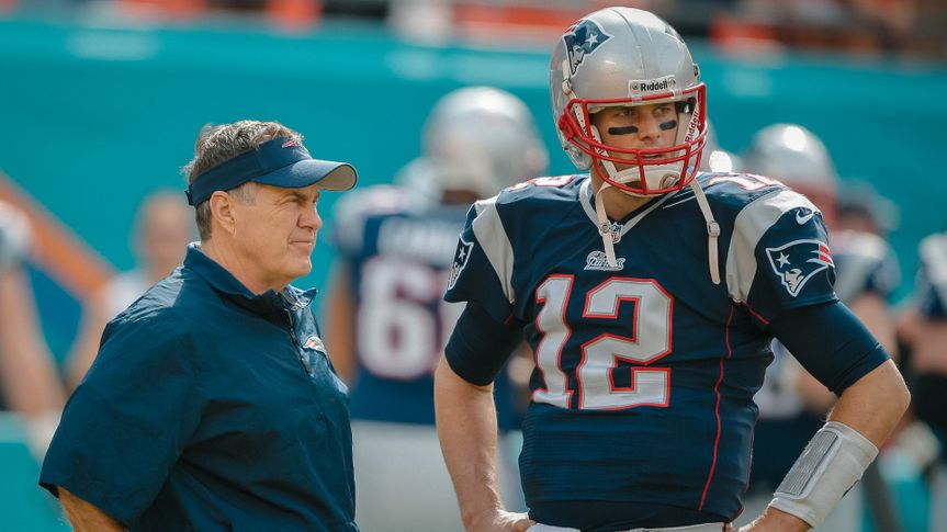 Mandatory Credit: Photo by Lynne Sladky/AP/Shutterstock (6020317cm)Bill Belickick, Tom Brady New England Patriots head coach Bill Belichick, left, and New England Patriots quarterback Tom Brady (12) talks on the sidelines before an NFL football game against the Miami Dolphins, in Miami Gardens, FlaPatriots Dolphins Football, Miami Gardens, USA.