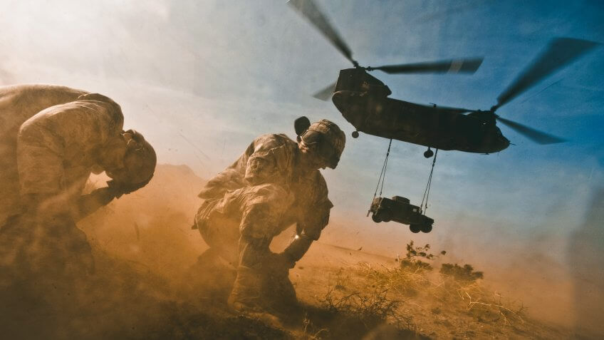 US Air Force leave helicopter in Afghanistan