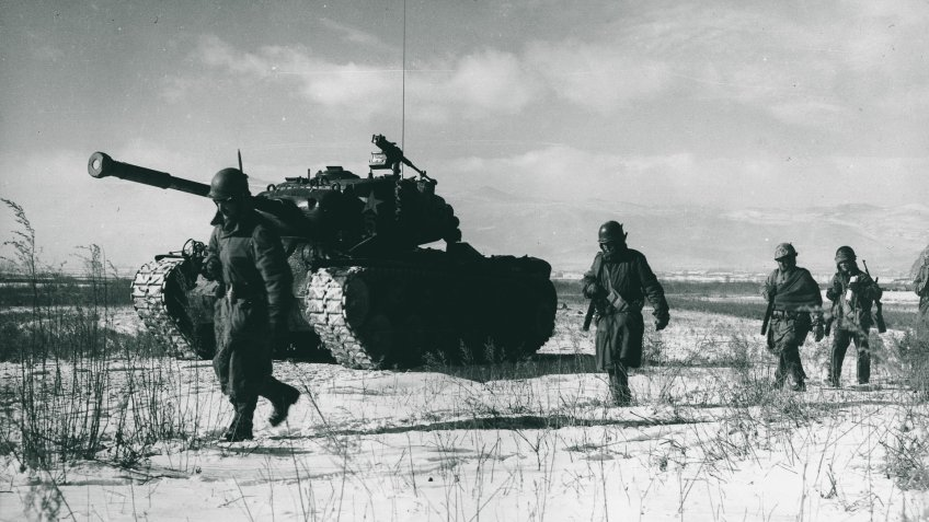 US Marine Division in Chosin Reservoir Korean War 1950