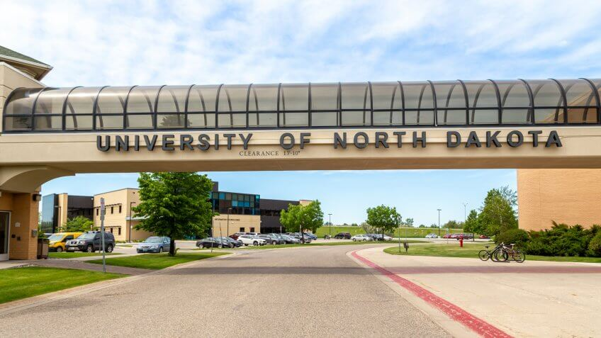 GRAND FORKS, ND/USA - JUNE 28, 2019: Skyway and entrance to the campus of the University of North Dakota.