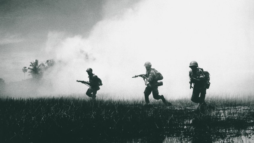 Crack troops of the Vietnamese Army in combat operations against the Communist Viet Cong guerillas.