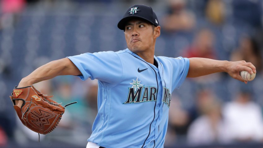 Mandatory Credit: Photo by Charlie Riedel/AP/Shutterstock (10576628bg)Seattle Mariners pitcher Wei-Yin Chen throws during the fourth inning of a spring training baseball game against the Colorado Rockies, in Peoria, ArizRockies Mariners Spring Baseball, Peoria, USA - 02 Mar 2020.