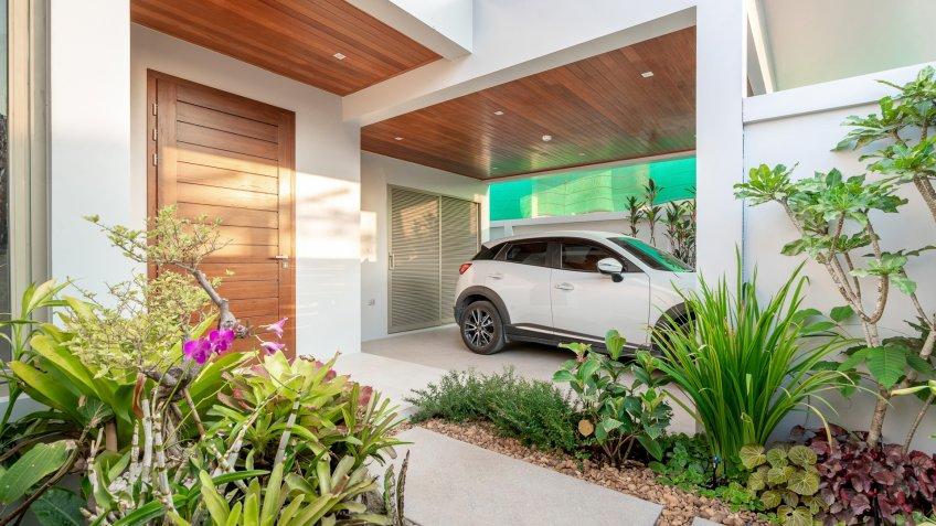 real estate Garage car parking house home interior exterior.