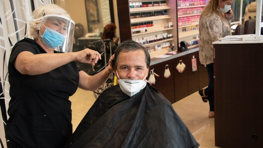 Mandatory Credit: Photo by Michele Eve Sandberg/Shutterstock (10650915aj)'Salon 21' begins to open today as Phase 1 is in place in certain areas of Miami.