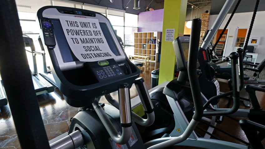 Mandatory Credit: Photo by LARRY W SMITH/EPA-EFE/Shutterstock (10651078c)Some of the equipment is turned off to keep social distancing on the machines inside at Anytime Fitness Gym in Commerce, Texas, USA, 18 May 2020.