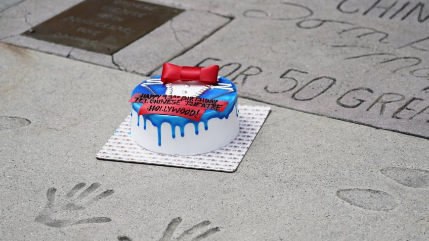 Mandatory Credit: Photo by Ashley Landis/AP/Shutterstock (10651135a)Birthday cake sits among celebrity handprints outside TCL Chinese Theatre during its 93rd birthday celebration, in the Hollywood area of Los AngelesVirus Outbreak California Daily Life, Los Angeles, United States - 18 May 2020.