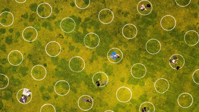 Mandatory Credit: Photo by Noah Berger/AP/Shutterstock (10654910c)Circles designed to help prevent the spread of the coronavirus by encouraging social distancing line San Francisco's Dolores ParkVirus Outbreak California Daily Life, San Francisco, United States - 21 May 2020.