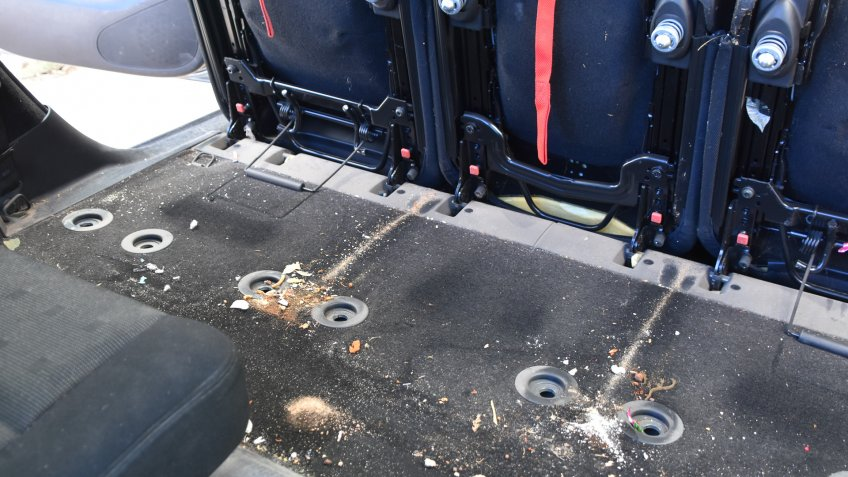 Inside dirty car.