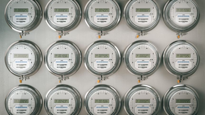 Digital electric meters in a row dad power use. Electricity consumption concept.