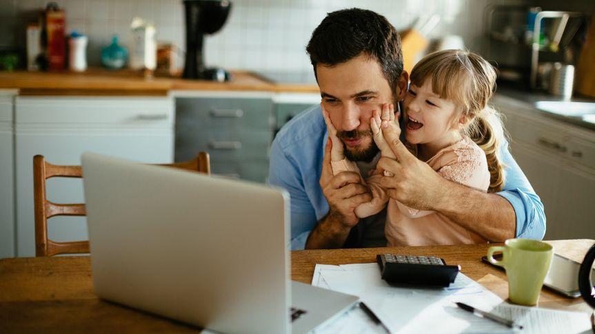 Photo of a father and daughter enjoying  together.